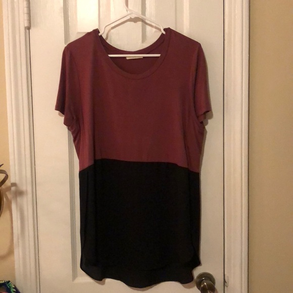 Lush Tops - Maroon and black blouse